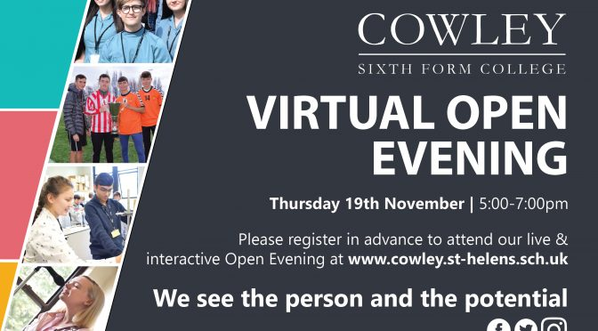cowley sixth form virtual open evenings – 19th november