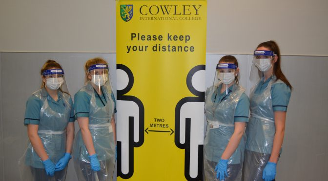 COWLEY SIXTH FORM NURSE CADET STUDENTS VOLUNTEER TO HELP COLLEGE'S COVID TESTING
